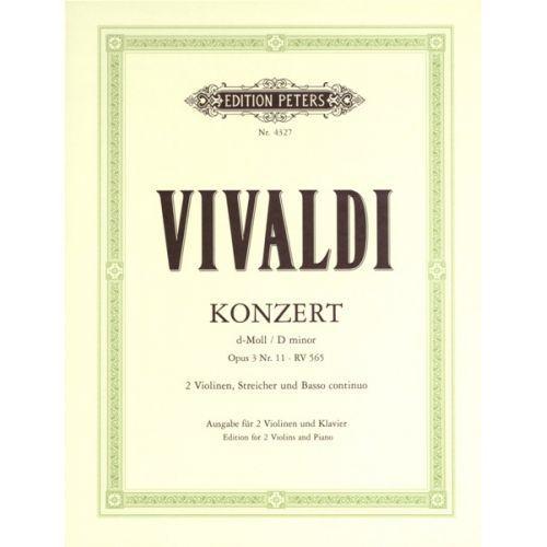 EDITION PETERS VIVALDI ANTONIO - CONCERTO GROSSO IN D MINOR OP.3 NO.11 - VIOLIN ENSEMBLE