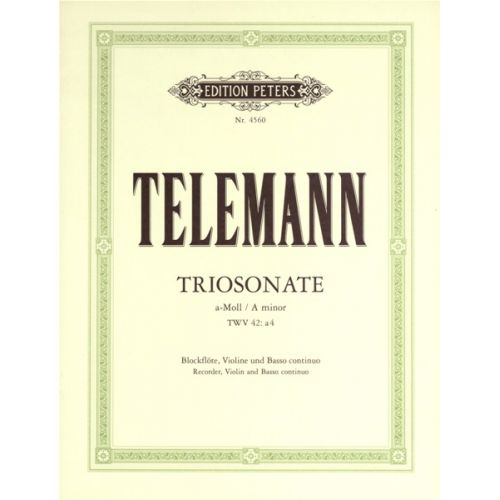 EDITION PETERS TELEMANN G.P. - TRIO SONATA IN A MINOR FROM 'ESSERCIZII MUSICI' - FLUTE(S) AND OTHER INSTRUMENTS