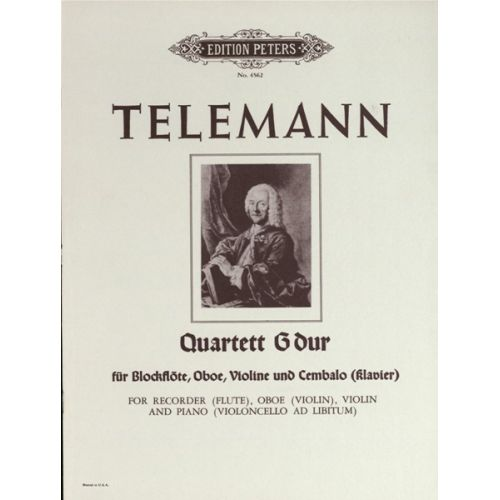 EDITION PETERS TELEMANN GEORG PHILIPP - QUARTET IN G - FLUTE(S) AND OTHER INSTRUMENTS