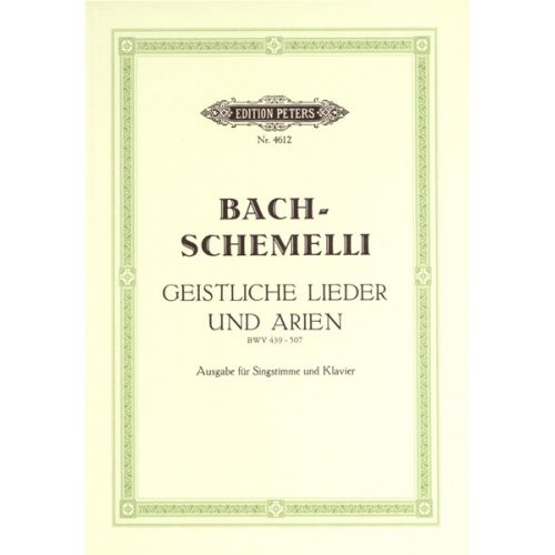 EDITION PETERS BACH JOHANN SEBASTIAN - 69 SACRED SONGS AND ARIAS - VOCAL SCORE (PER 10 MINIMUM)