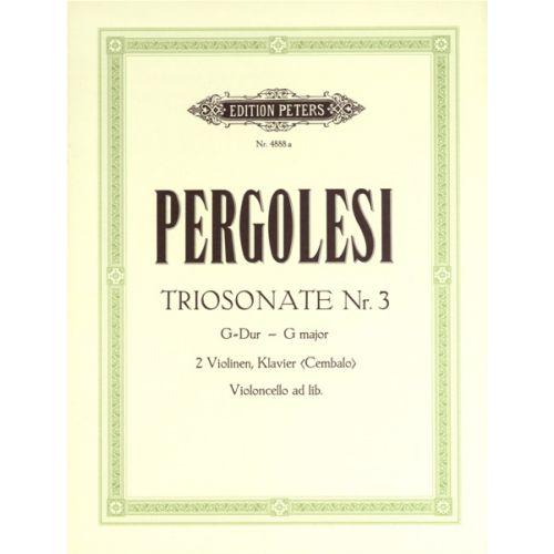 EDITION PETERS PERGOLESI GIOVANNI BATTISTA - TRIO SONATA NO.3 IN G - VIOLIN ENSEMBLE