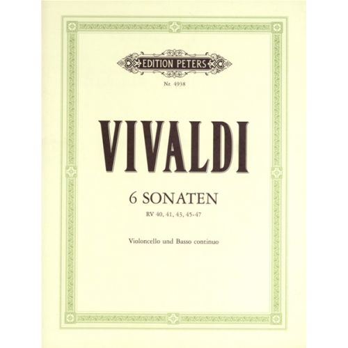 EDITION PETERS VIVALDI ANTONIO - 6 SONATAS - CELLO AND PIANO