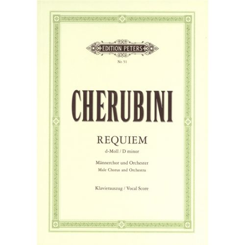 EDITION PETERS CHERUBINI LUIGI - REQUIEM IN D MINOR - MIXED CHOIR (PER 10 MINIMUM)