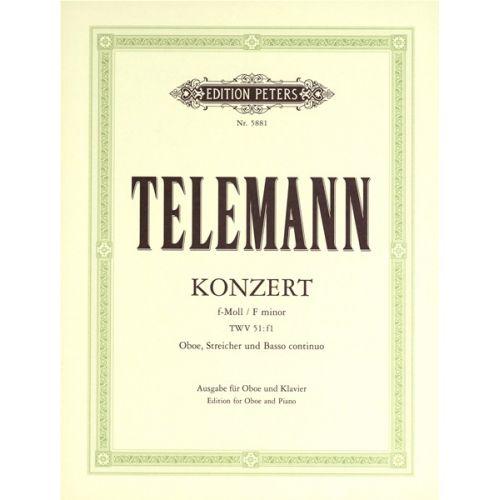 EDITION PETERS TELEMANN GEORG PHILIPP - OBOE CONCERTO IN F MINOR - OBOE AND PIANO