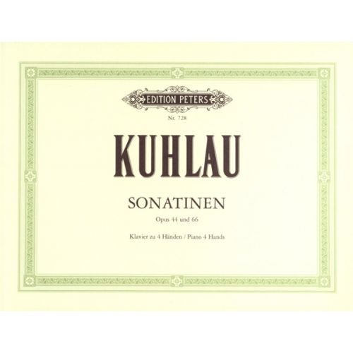 EDITION PETERS KUHLAU FRIEDRICH - 6 SONATINAS OPP.44, 66 - PIANO 4 HANDS