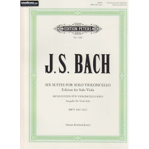 EDITION PETERS BACH J. S. - SUITEN FÜR CELLO - TRANSCRIPTION POUR ALTO