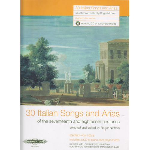 EDITION PETERS 30 ITALIAN SONGS AND ARIAS + CD (voix moyenne ou grave / piano)