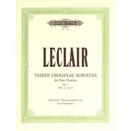 EDITION PETERS LECLAIR JEAN MARIE - 3 SONATAS FOR TWO VIOLINS OP.3 NOS.2, 4, 6 - VIOLIN DUETS
