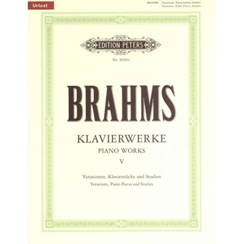 EDITION PETERS BRAHMS JOHANNES - PIANO WORKS VOL.5: MISCELLANEOUS WORKS - PIANO