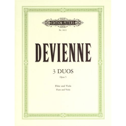 EDITION PETERS DEVIENNE FRANÇOIS - 3 DUOS OP.5 FOR VIOLA AND FLUTE - FLUTE(S) AND OTHER INSTRUMENTS