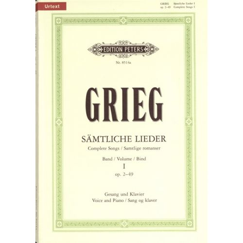 EDITION PETERS GRIEG EDVARD - COMPLETE SONGS VOL.1 - VOICE AND PIANO (PER 10 MINIMUM)