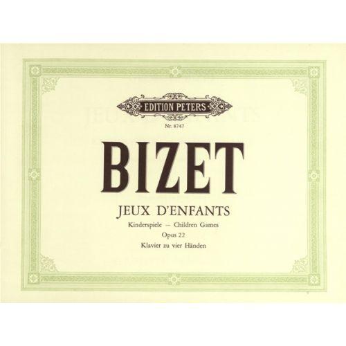 EDITION PETERS BIZET GEORGES - JEUX D'ENFANTS OP.22, COMPLETE - PIANO 4 HANDS