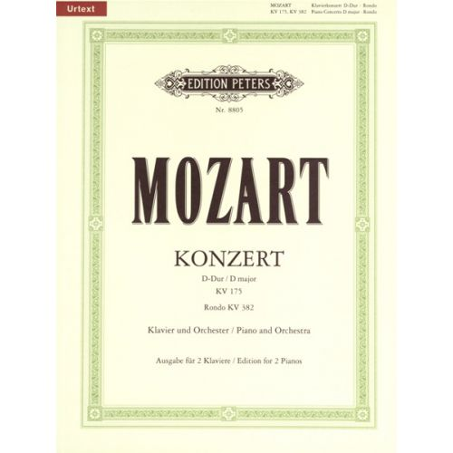 EDITION PETERS MOZART WOLFGANG AMADEUS - CONCERTO NO.5 IN D K175 WITH RONDO IN D K382 - PIANO 4 HANDS