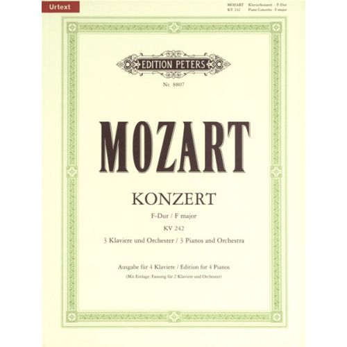 EDITION PETERS MOZART WOLFGANG AMADEUS - CONCERTO NO.7 IN F FOR 3 PIANOS K242 - PIANO (MULTIPLE)