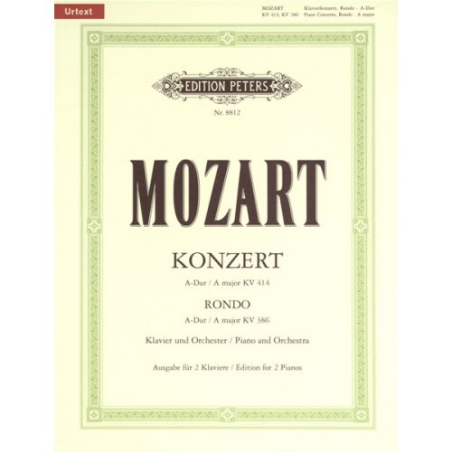 EDITION PETERS MOZART WOLFGANG AMADEUS - CONCERTO NO.12 IN A K414 - PIANO 4 HANDS