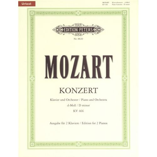 EDITION PETERS MOZART WOLFGANG AMADEUS - CONCERTO NO.20 IN D MINOR K466 - PIANO 4 HANDS