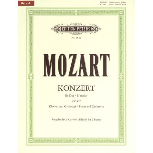 EDITION PETERS MOZART WOLFGANG AMADEUS - CONCERTO NO.22 IN E FLAT K482 - PIANO 4 HANDS