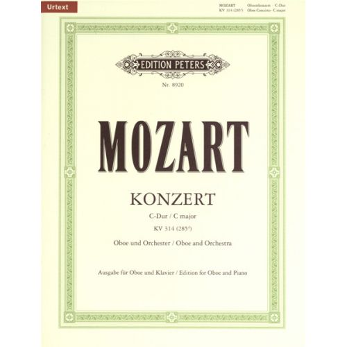EDITION PETERS MOZART WOLFGANG AMADEUS - OBOE CONCERTO IN C MAJOR K.314(285D) - OBOE AND PIANO