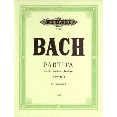 EDITION PETERS BACH JOHANN SEBASTIAN - PARTITA IN A MINOR (SONATA) BWV 1013 - FLUTE/PICCOLO