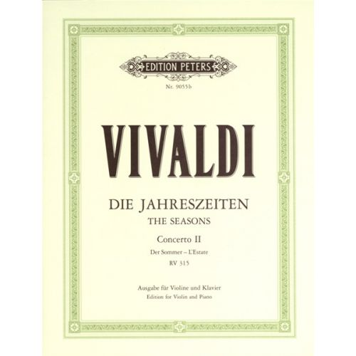 EDITION PETERS VIVALDI ANTONIO - THE FOUR SEASONS OP.8 NO.2 IN G MINOR 'SUMMER' - VIOLIN AND PIANO