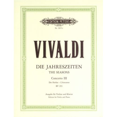 EDITION PETERS VIVALDI ANTONIO - THE FOUR SEASONS OP.8 NO.3 IN F 'AUTUMN' - VIOLIN AND PIANO