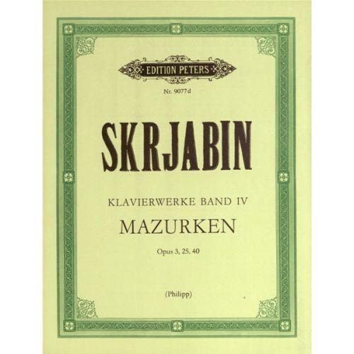 EDITION PETERS SKRYABIN ALEXANDER - PIANO WORKS VOL.4 - PIANO