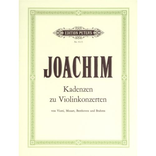 EDITION PETERS JOACHIM JOSEPH - CADENZAS - VIOLIN