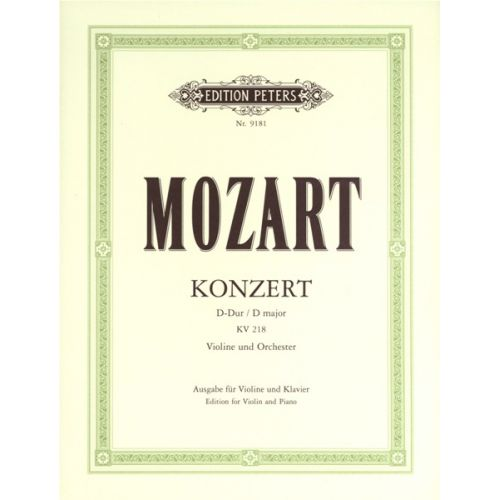 EDITION PETERS MOZART WOLFGANG AMADEUS - CONCERTO NO.4 IN D K218 - VIOLIN AND PIANO
