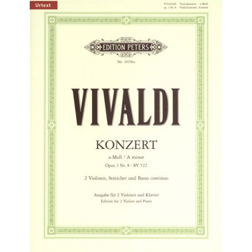 EDITION PETERS VIVALDI A. - CONCERTO IN A MINOR OP.3 NO.8 - VIOLIN AND PIANO