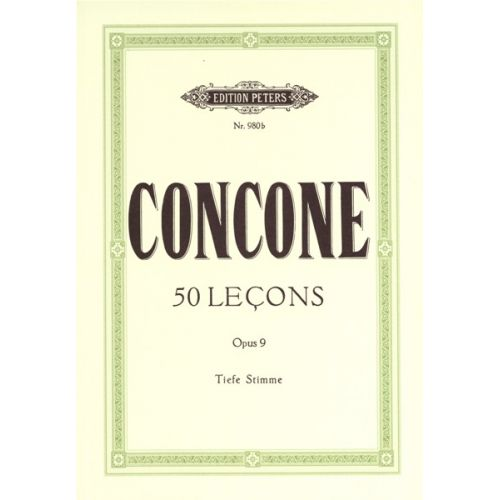 EDITION PETERS CONCONE GIUSEPPE - 50 LECONS OP 9 - LOW VOICE AND PIANO (PER 10 MINIMUM)