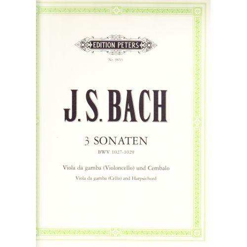EDITION PETERS BACH J.S. - 3 GAMBA SONATAS ARRANGEMENT VIOLONCELLE