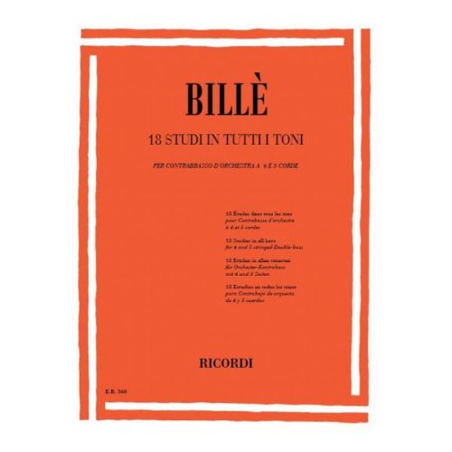 RICORDI BILLE - 18 STUDI IN TUTTI I TONI - CONTREBASSE
