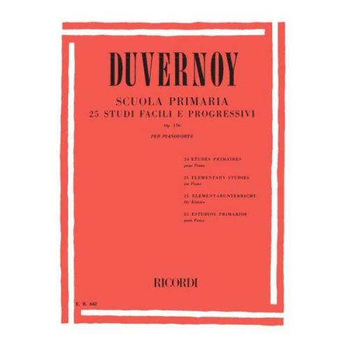 RICORDI DUVERNOY J.B. - SCUOLA PRIMARIA - 25 STUDI FACILI E PROGRESSIVI OP.176 - PIANO