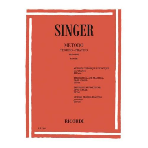 RICORDI SINGER S. - METODO TEORICO-PRATICO - PARTE III ARPEGGI - HAUTBOIS