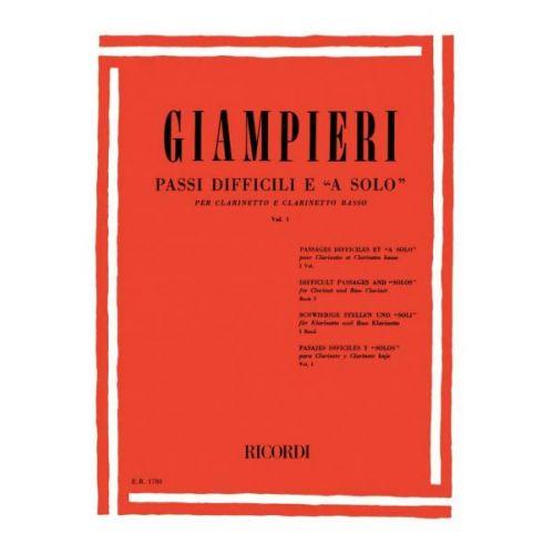 RICORDI GIAMPIERI A. - PASSI DIFFICILI E 'A SOLO' DI OPERE TEATRALI E SINFONICHE - CLARINETTE