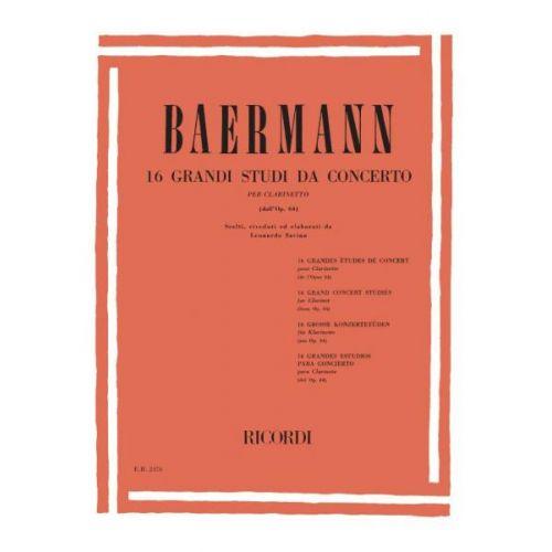 RICORDI BAERMANN K. - 16 GRANDI STUDI DA CONCERTO - CLARINETTE