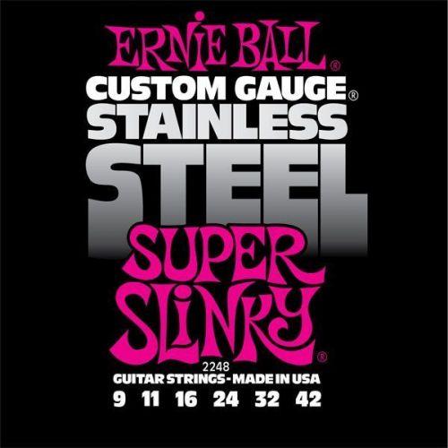 ERNIE BALL GITARRENSAITEN ELEKTRISCH SUPER SLINKY STAINLESS STEEL 9-42 2248