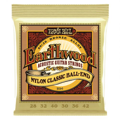 ERNIE BALL GITARRENSAITEN CLASSIQUE EARTHWOOD NYLON CLASSIC BALL END 28-42 2069