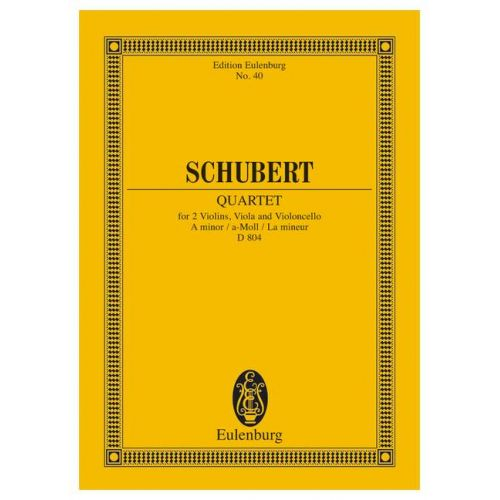 EULENBURG SCHUBERT FRANZ - STRING QUARTET A MINOR OP 29 D 804 - STRING QUARTET