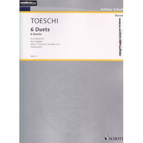 SCHOTT TOESCHI C. J. - 6 DUETTE (VOL. 2) - 2 BASSONS