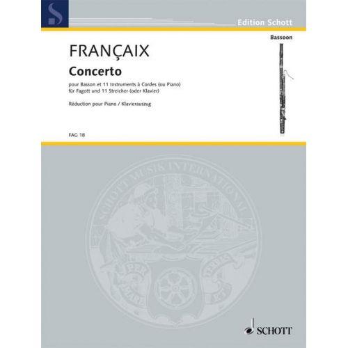 SCHOTT FRANCAIX JEAN - CONCERTO - BASSOON AND 11 STRINGS