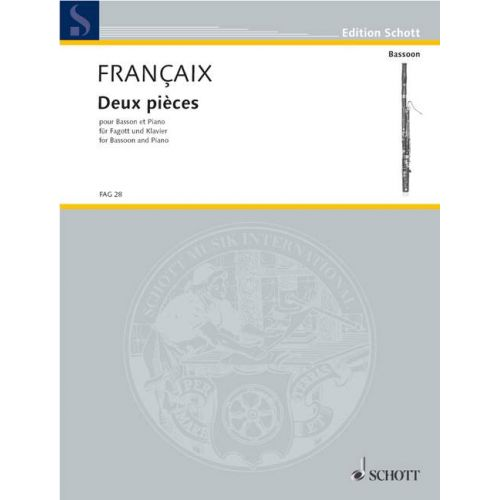 SCHOTT FRANCAIX JEAN - TWO PIECES - BASSOON AND PIANO