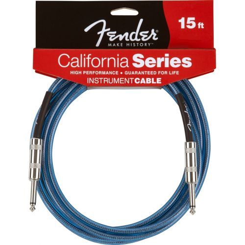 FENDER CALIFORNIA SERIES INSTRUMENT CABLE 20' LAKE PLACID BLUE