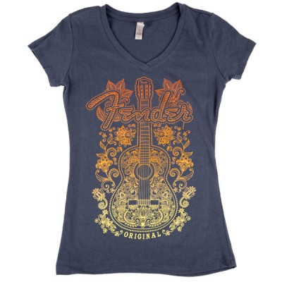 FENDER LADIES FLORAL ACOUSTIC T-SHIRT GRAY S