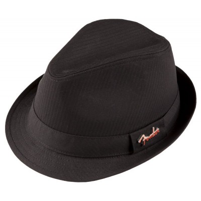 FENDER FEDORA BLACK SELF STRIPE WITH PIN BLACK S/M