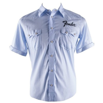 FENDER SHORT SLEEVE GARAGE SHIRT S LIGHT BLUE