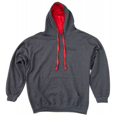 FENDER PULLOVER SWEATSHIRT BLACK WITH RED HOOD L