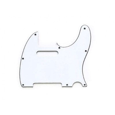 FRED S GUITAR PARTS TELE WHITE 3-PLY 8 H .090