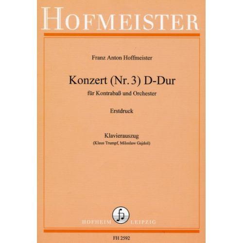 HOFMEISTER HOFFMEISTER F. A. - KONZERT N° 3 IN D-DUR - CONTREBASSE ET ORCHESTRE -REDUCTION CLAVIER