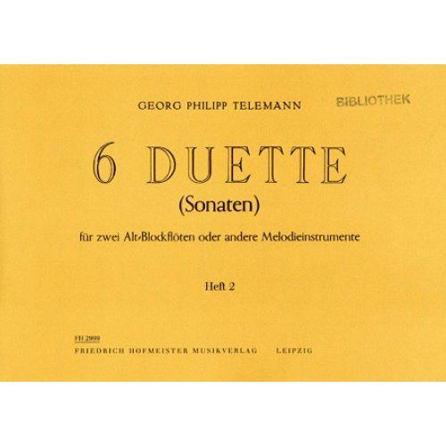 HOFMEISTER TELEMANN G. PH. - 6 DUETTE (SONATEN 4-6) - FLUTES A BEC